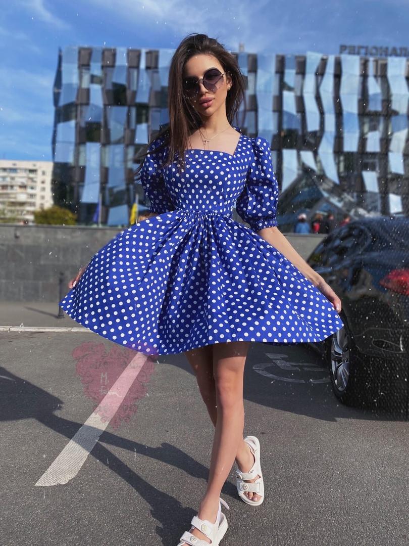 Летнее платье с пышной юбкой, квадратным вырезом и открытой спиной vN7797