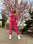 Плюшевый женский спортивный костюм с объемной свободной кофтой худи vN7805, фото 3