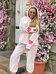 Плюшевый женский спортивный костюм с объемной свободной кофтой худи vN7805, фото 5