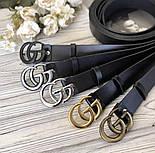 Женский черный ремень с бляхой GG vN7870, фото 2