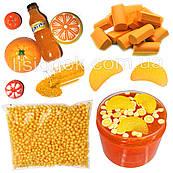 """Slime box """"Апельсиновый Фреш"""" набор добавок для слайма: шармики, пенопласт, фоам чанкс, глиттер, баночки"""