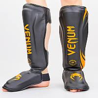 Захист гомілки й стопи Муай Тай, ММА, Кікбоксинг VEN (PU, чорно-помаранчевий, M-XL)