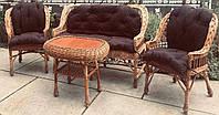 Мебель плетеная с накидками | мебель из лозы с подушками | мебель  натуральная с небольшим столом, фото 1