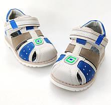 Детские босоножки сандалии для мальчика бежевые Y.TOP 24р 15см, фото 3