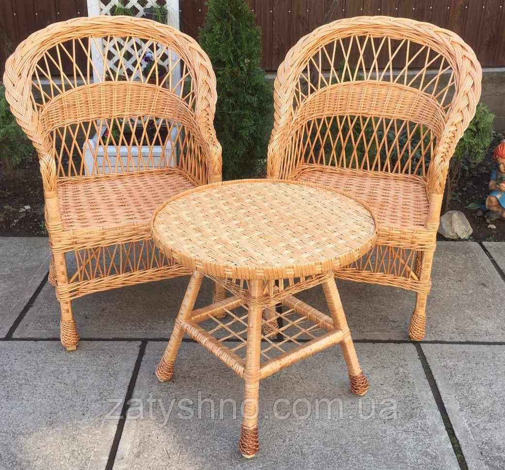 Мебель плетеная с журнальным столом| мебель из лозы с круглым столом | мебель  натуральная балконная