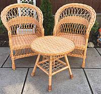 Мебель плетеная с журнальным столом| мебель из лозы с круглым столом | мебель  натуральная балконная, фото 1