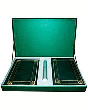 """Подарочный набор аксессуаров """"Бизнес"""": ежедневник А5 кожаный, визитница настольная кожаная и ручка в футляре"""