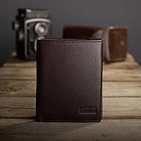 Кожаный кошелек портмоне мужской Kafa коричневый, на магните, вертикальный