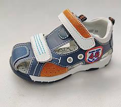Детские босоножки сандалии для мальчика кожа синие B&G 22р 13.5см
