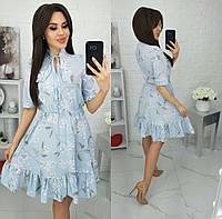 Сукня з воланом/ квітковим принтом жіноче (ПОШТУЧНО)