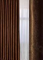 Штора блэкаут темно коричневый Soft Mramor