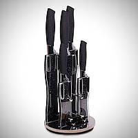 Набор черных мраморных ножей Kamille 6 предметов на акриловой подставке