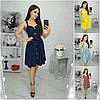 Р 42-52 Лляне літня сукня з спідницею кльош Батал 21434-1