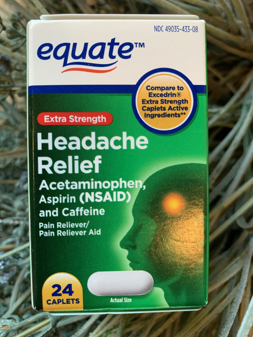От мигрени и головной боли Equate Headache Relief, 24шт