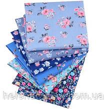 Синий набор сатина с мелким цветочным принтом - 7 отрезов 40*50 см