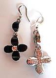 Серьги с черным кристаллами 5 см замок-петля, фото 2