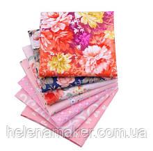 Розовый набор сатина с цветочным принтом - 7 отрезов 40*50 см