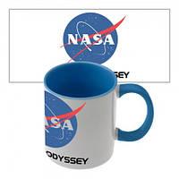 Чашка с принтом  NASA (синяя)