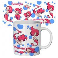 Чашка с принтом  Красавица русалочка