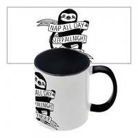 Чашка с принтом  Nap all day (черная)