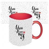 Чашка с принтом  Ты в моем сердце (красная)
