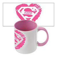 Чашка с принтом  Супер Мама (розовая)
