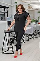 Стильный костюм. Размер:,50-52,54-56,58-60. Цвет: черный ,брючный красивый костюм,модный женский брючный