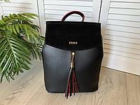 Женский городской  рюкзак/сумка,с натуральной замшей,черный с красным ободком