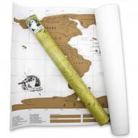 Скрейтч - карта в подарочном тубусе (стирающаяся карта мира)