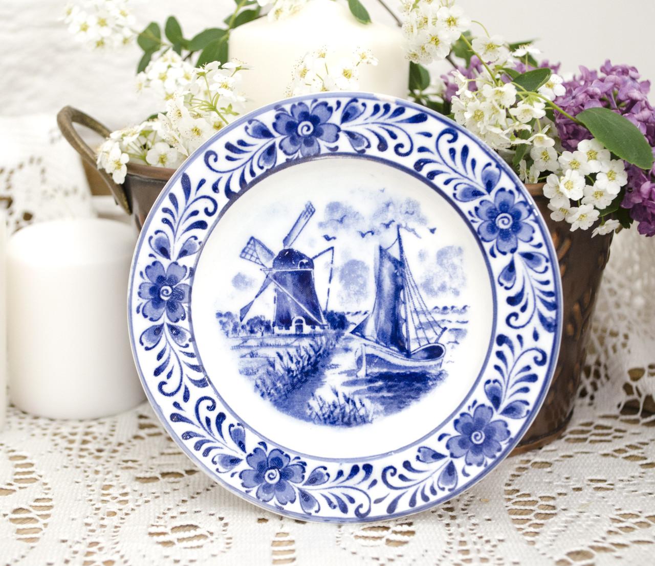 Коллекционная фарфоровая тарелочка с мельницей, делфтский фарфор, Delft, Голландия