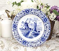 Коллекционная фарфоровая тарелочка с мельницей, делфтский фарфор, Delft, Голландия, фото 1