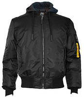 Американський бомбер з капюшоном Top Gun MA-1 Nylon Bomber jacket with hoodie TGJ1735 (Black), фото 1