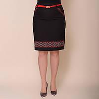 Женская юбка с украинской вышивкой от производителя черного цвета. Размеры: 48, 50, 52, 54