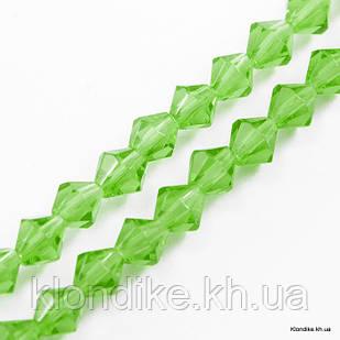Бусины хрустальные, Биконус, Стекло, 2х3 мм, Цвет: Зеленый-лайм прозрачный (~200шт/нить)