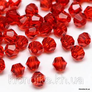 Бусины хрустальные, Биконус, Стекло, 2х3 мм, Цвет: Красный прозрачный (~200шт/нить)