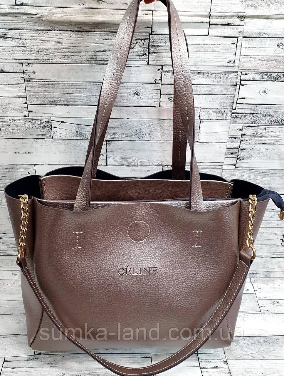Жіноча чорна сумка Celine з еко-шкіри з додатковими відділеннями по боках 30*25 см