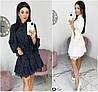 Р 42-48 Короткое платье с рюшами, в горошек 21441