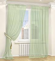 Готовые Шторы комплект для спальни из легкой ткани вуаль ПАЛЕВО ЗЕЛЕНЫЙ цвета 5м