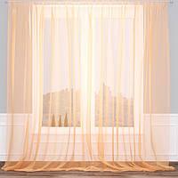 Готовые Шторы комплект для спальни из легкой ткани вуаль БЕЖ-ЗОЛОТО цвета 4м