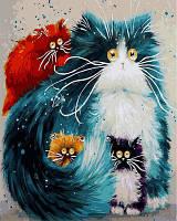 Премиум  Картина по номерам Мама кошка. Худ. Ким Хаскинс, 40x50 см., Babylon Premium