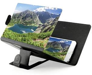 Подставка - увеличитель экрана телефона Seuno Magnif 3D кожзам Черная (007081)