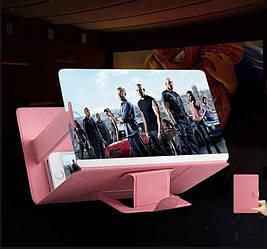 Подставка - увеличитель экрана телефона Seuno Magnif 3D кожзам Розовая (007082)