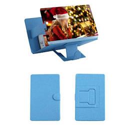 Подставка - увеличитель экрана телефона Seuno Magnif 3D кожзам Синий (007083)