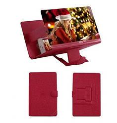 Подставка - увеличитель экрана телефона Seuno Magnif 3D кожзам Красный (007084)