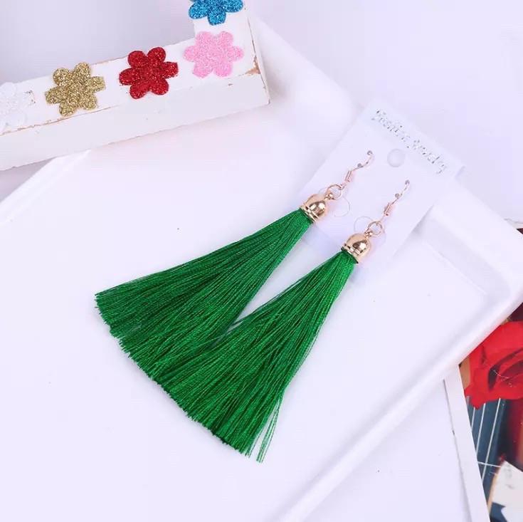 Серьги/сережки женские длинные кисточки из ниток  «Green art» (зелёный )
