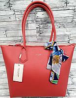 Женская коралловая сумка David Jones Люкс качества с длинными ручками и платком 32*28 см