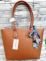 Женская горчичная сумка David Jones Люкс качества с длинными ручками и платком 32*28 см