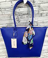 Женская синяя сумка David Jones Люкс качества с длинными ручками и платком 32*28 см