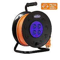 Удлинитель на катушке SVITTEX 50м с сечением провода 3х2,5 мм², заземлением и термозащитой