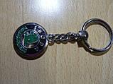 Брелок металлический Skoda 50г 95мм №1 есть мазки черной краски эмблема Шкода на авто ключи окрашен дорогой, фото 3